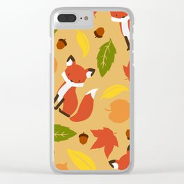 Fox Jumble - Beige Clear iPhone Case