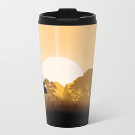 Romantic moose is watching sunset Travel Mug