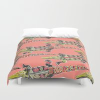 crocodile Duvet Covers featuring crocodile coral by Sharon Turner