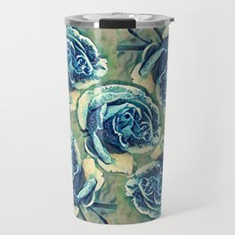 Blue Rose Garden Quilt Square Travel Mug