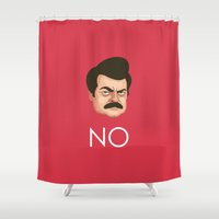 swanson Shower Curtains featuring Motivation by Ron Swanson by The LOL Shop