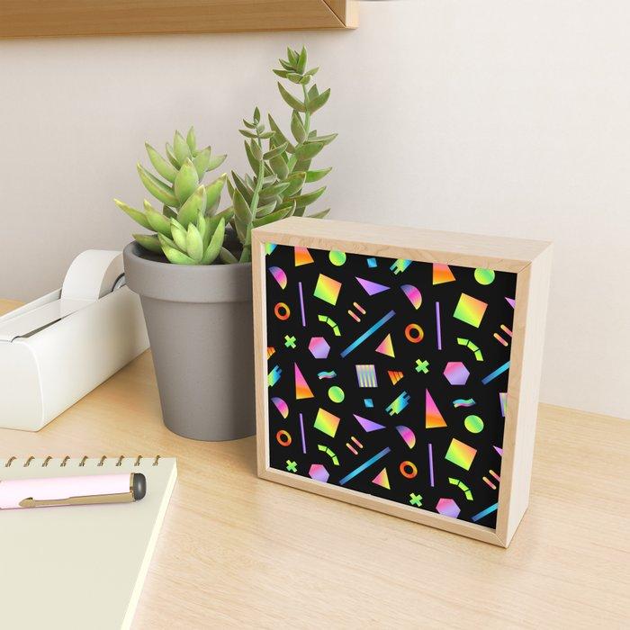 Neon Gradient Postmodern Shapes Framed Mini Art Print
