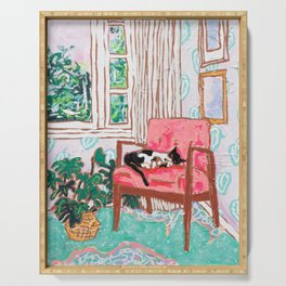 Little Naps - Tuxedo Cat Napping in a Pink Mid-Century Chair by the Window Serving Tray