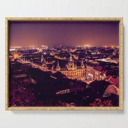 Night view of Graz city Serving Tray