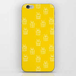 White Christmas gift box pattern on Yellow background iPhone Skin