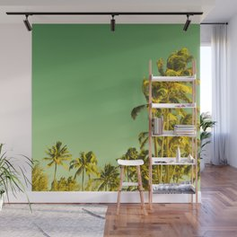 palm love in tropical green gold jewel tones Wall Mural