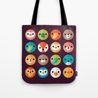 monika strigel Tote Bags featuring SMILEY FACES 1 by Daisy Beatrice