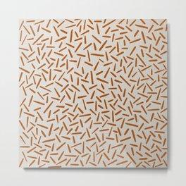 Mudcloth Orange Lines in White Linen Metal Print