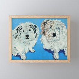 Two White Pups Dog Portrait Framed Mini Art Print