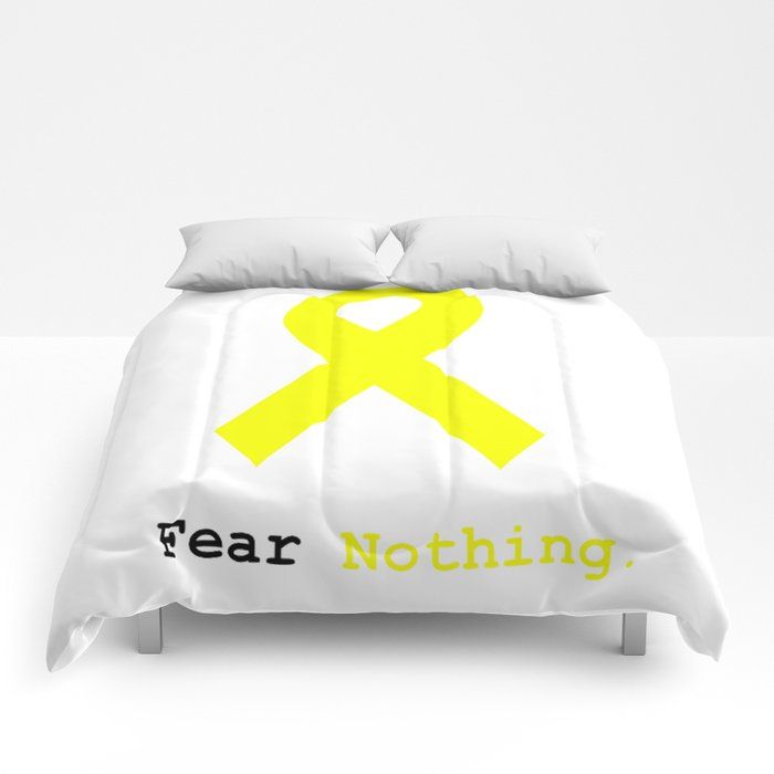 Fear Nothing: Yellow Awareness Ribbon Comforters