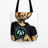 tony stark Tote Bags featuring Tony Stark by Brizy Eckert