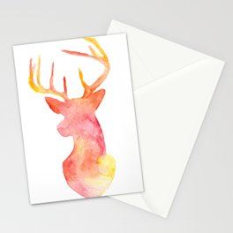 Watercolor Deer Silhouette  Stationery Cards