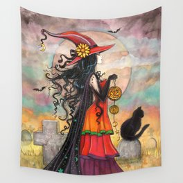 Witch Way Halloween Witch and Cat Fantasy Art by Molly Harrison  Wall Tapestry