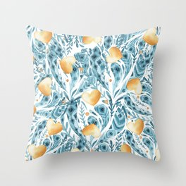 Hand painted blue yellow watercolor bohemian feathers hearts Throw Pillow