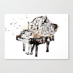 Piano, vintage watercolor piano Canvas Print