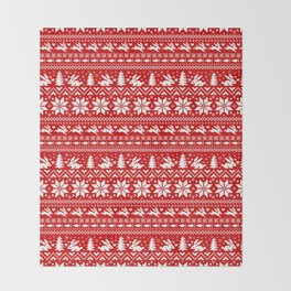 Bunnies Holiday Patterm Throw Blanket