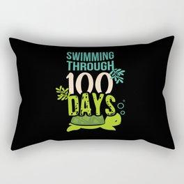 Sea Turtle 100 Days Of School For Girls Teachers Rectangular Pillow
