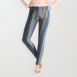 Modern Geometric Cable Knit Sweater Pattern in Soothing Classic Blues Muted Orange Desert Colors  Leggings