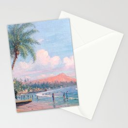 Waikiki Beach, Diamond Head, Oahu landscape painting by D. Howard Hitchcock Stationery Cards