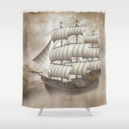 Cloud Ship Shower Curtain