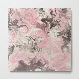 Black Magic Marble Pink White Design Metal Print