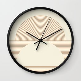 Geometric lines in Shades of Coffee and Latte 4 (Sunrise and Sunset) Wall Clock