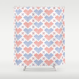 Hand Drawn Embroidery Love Heart Stitches Seamless Vector Pattern Shower Curtain