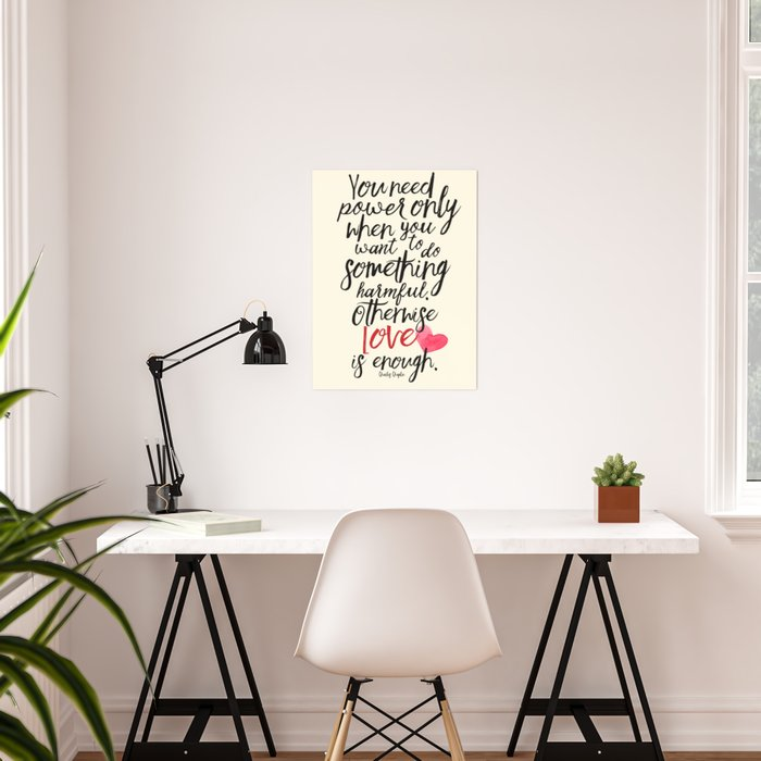 Love is enough - Chaplin sentence Illustration, motivation, inspirational quote Poster