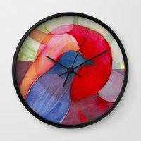 kandinsky Wall Clocks featuring Joy by angela deal meanix