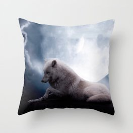 Awesome Wolf and Moon White Wolf Throw Pillow