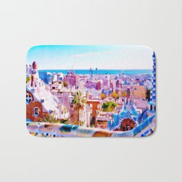 Park Guell Watercolor painting Bath Mat