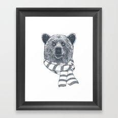 Winter Bear Drawing Framed Art Print
