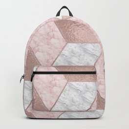 Dazzling marble geo - rose gold Backpack
