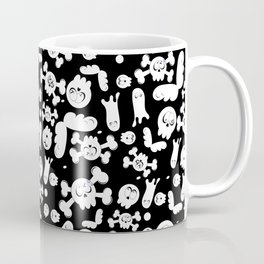 Skulls and ghosts pattern in black Coffee Mug