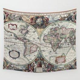 1630 Nova Totius Terrarum Orbis Tabula Map Wall Tapestry