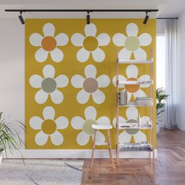 Spring Daisies on Yellow Wall Mural