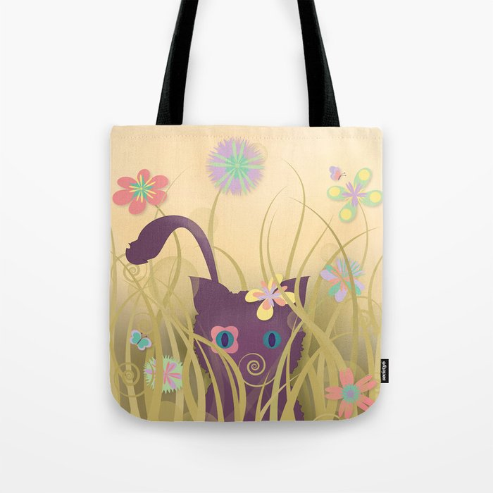Wild Kitty Cat, Spring Blooming Flowers, Golden Beige Sky Tote Bag
