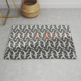 Grey and Pastel Running Girl Pattern Rug
