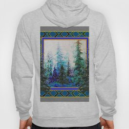PINE TREES BLUE FOREST  LANDSCAPE TEAL PATTERN Hoody