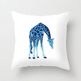 'Feelin' Blue' Pointillism Blue Giraffe Illustration Throw Pillow