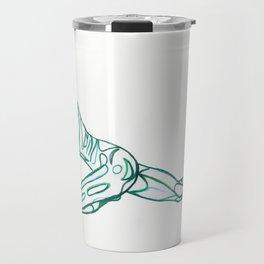 Pigeon Pose in Viridian Travel Mug