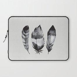 Monochrome bohemian feather set black-white boho watercolor animal illustration boho home wall decor Laptop Sleeve