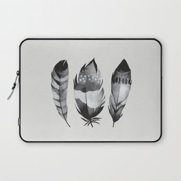 Monochrome bohemian feather set black-white boho watercolor animal illustration boho home wall decor Laptop Sleeve