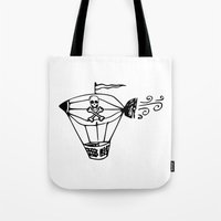 pirate ship Tote Bags featuring Pirate Ship by Crooked Stick