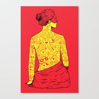 dumb and dumber Canvas Prints featuring Dumb Tatoos by Maxime Roy