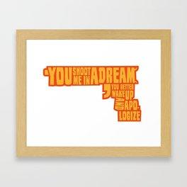 Shoot me in a dream Framed Art Print