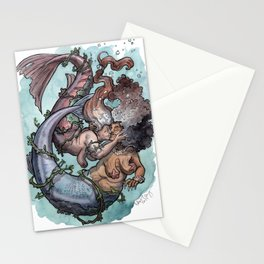 Old lady mermaids smooching Stationery Cards