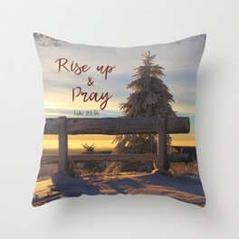 Rise up and Pray Verse Quote Snow Sunrise Throw Pillow