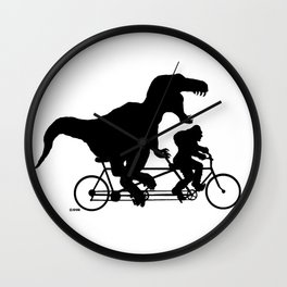 Gone Squatchin cycling with T-rex Wall Clock