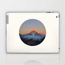 Mid Century Modern Round Circle Photo Sunrise Over Snowy Mountains Laptop & iPad Skin